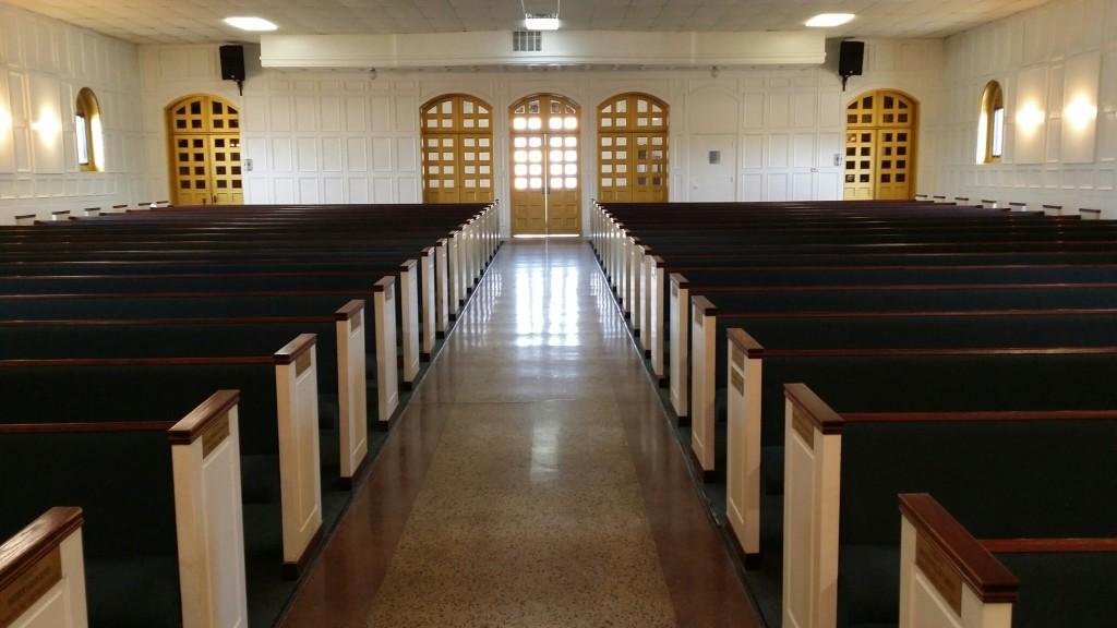 interior church rear doors view