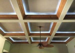 coffered ceiling with wood trim